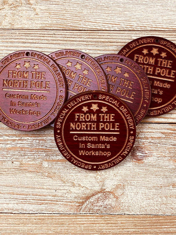 Santa's Workshop North Pole Christmas Gift Tags (5) or Ornaments from Solid Wood