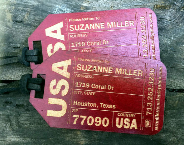 Personalized Luggage Bag Tags (Set of 2) Maple Wood with Leather Cord