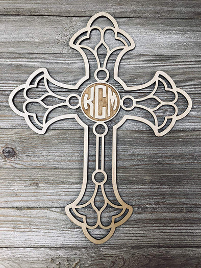 Personalized 12 inch Ornate Cross with Engraved Monogram