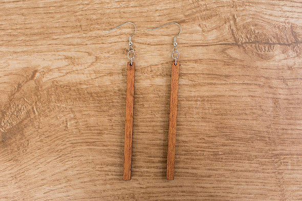 Skinny Natural Matchstick Wood Earrings from Reclaimed Mahogany