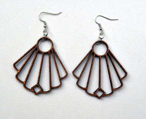 Fan Shape Solid Wood Earrings from Reclaimed Maple