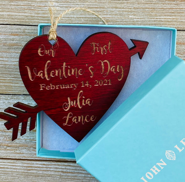 Personalized Couple's First Valentine's Day Ornament from Solid Wood