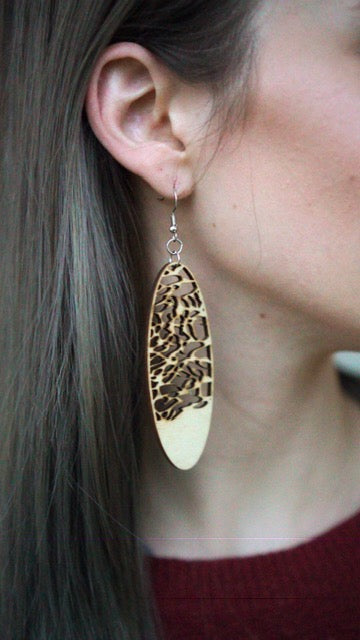 Serengeti Dunes Long Oval Wood Earrings from Natural Baltic Birch