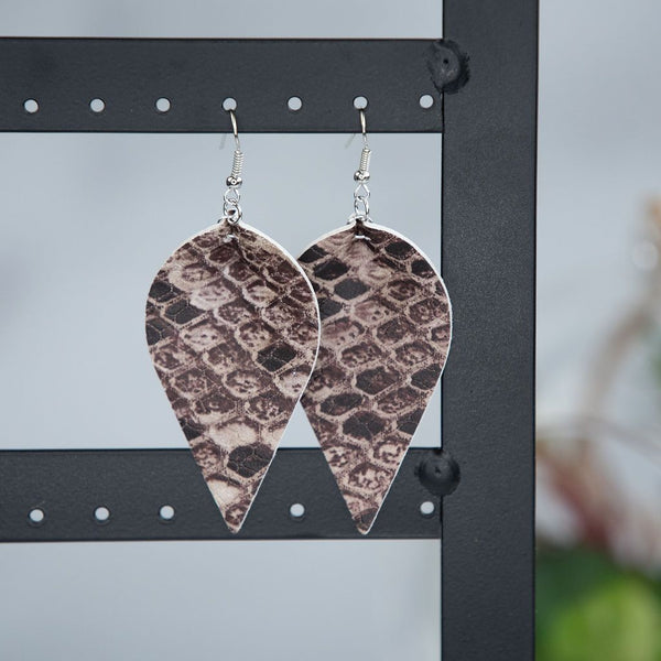 Snakeskin Print Dangle Earrings