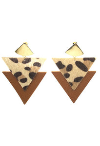 Leopard Faux Leather Triangles - Crowned Boutique