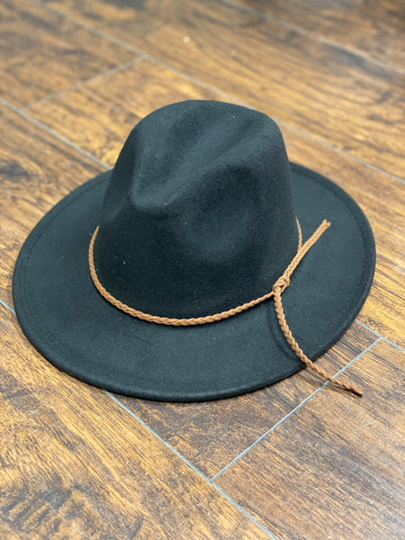 Wool Leather Braided Fedora