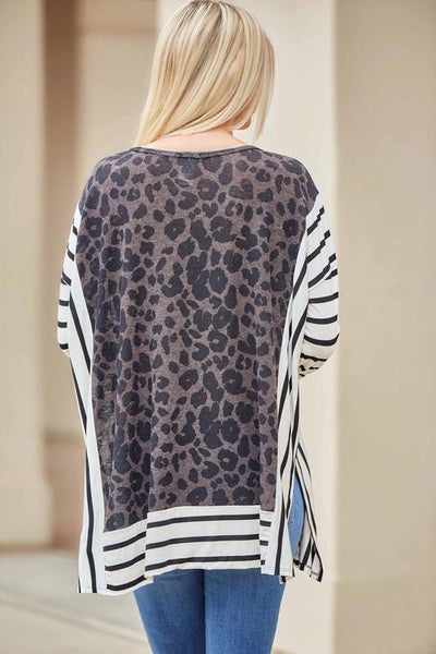 Leopard and Stripe Tunic Top