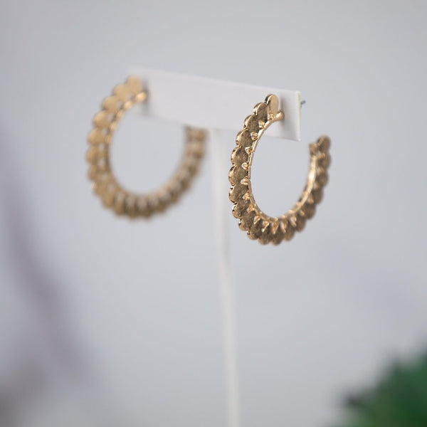 Amy Scalloped Edge Hoops in Silver or Gold