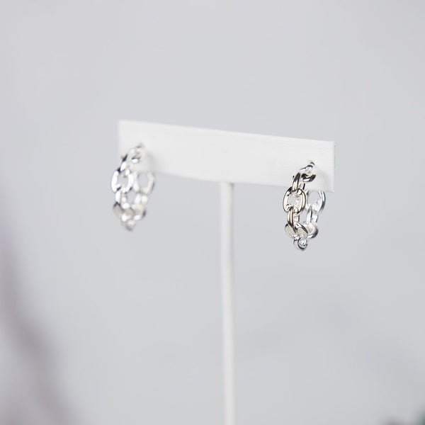 Meredith Chain Link Hoops in Silver or Gold