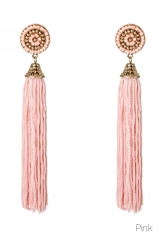 Pink Beaded Tassel Earring - Crowned Boutique