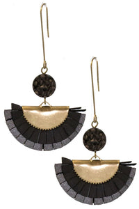 Black Druzy Dangles - Crowned Boutique