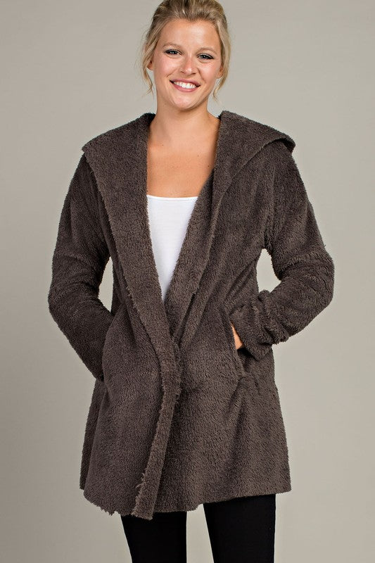 Gray Faux Fur Hoodie - Crowned Boutique