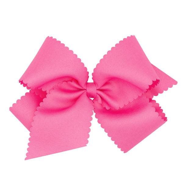 King Scalloped Edge Grosgrain Bow-MULTIPLE COLOR CHOICES