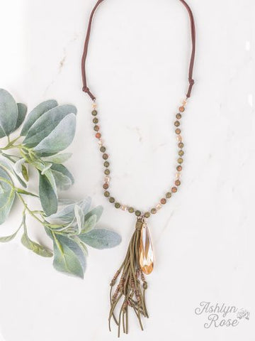 Just Dropping By Beaded and Leather Teardrop Necklace - Crowned Boutique