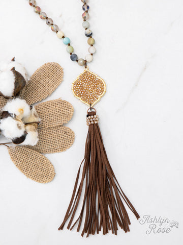 Going Baroque Beaded and Leather Necklace - Crowned Boutique