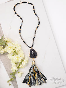 Stylish in Snakeskin Black and Gold Druzy Tassel Necklace - Crowned Boutique