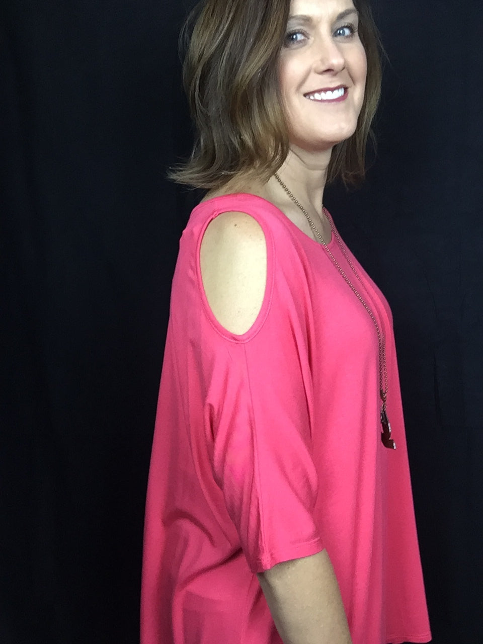 Coral Cold-Shoulder HiLow Tunic