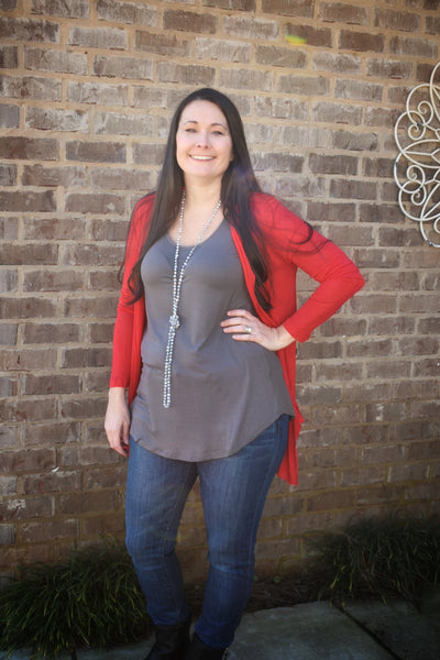 Ruby Red Sheer Cardigan - Crowned Boutique