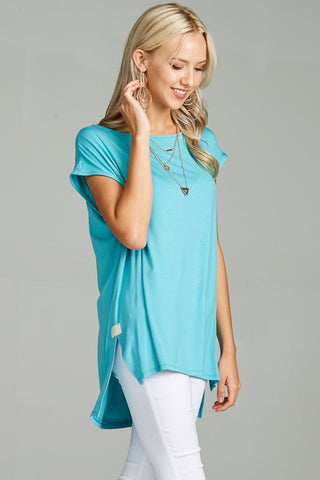 Aqua Cap Sleeve Tunic - Crowned Boutique