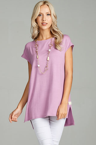 Lily Lavender Cap Sleeve Tunic - Crowned Boutique