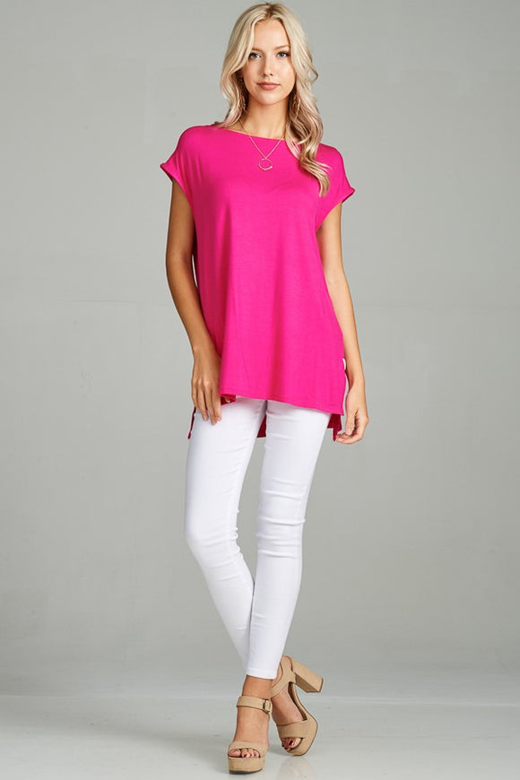 Hot Pink Cap Sleeve Tunic