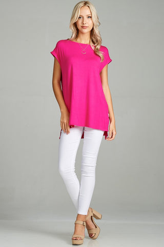 Hot Pink Cap Sleeve Tunic - Crowned Boutique