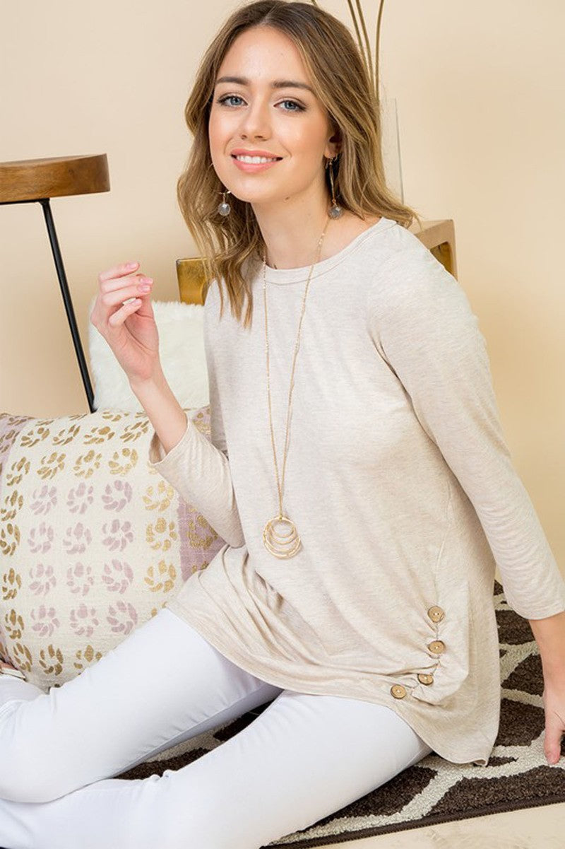 Oatmeal Button Detail Top