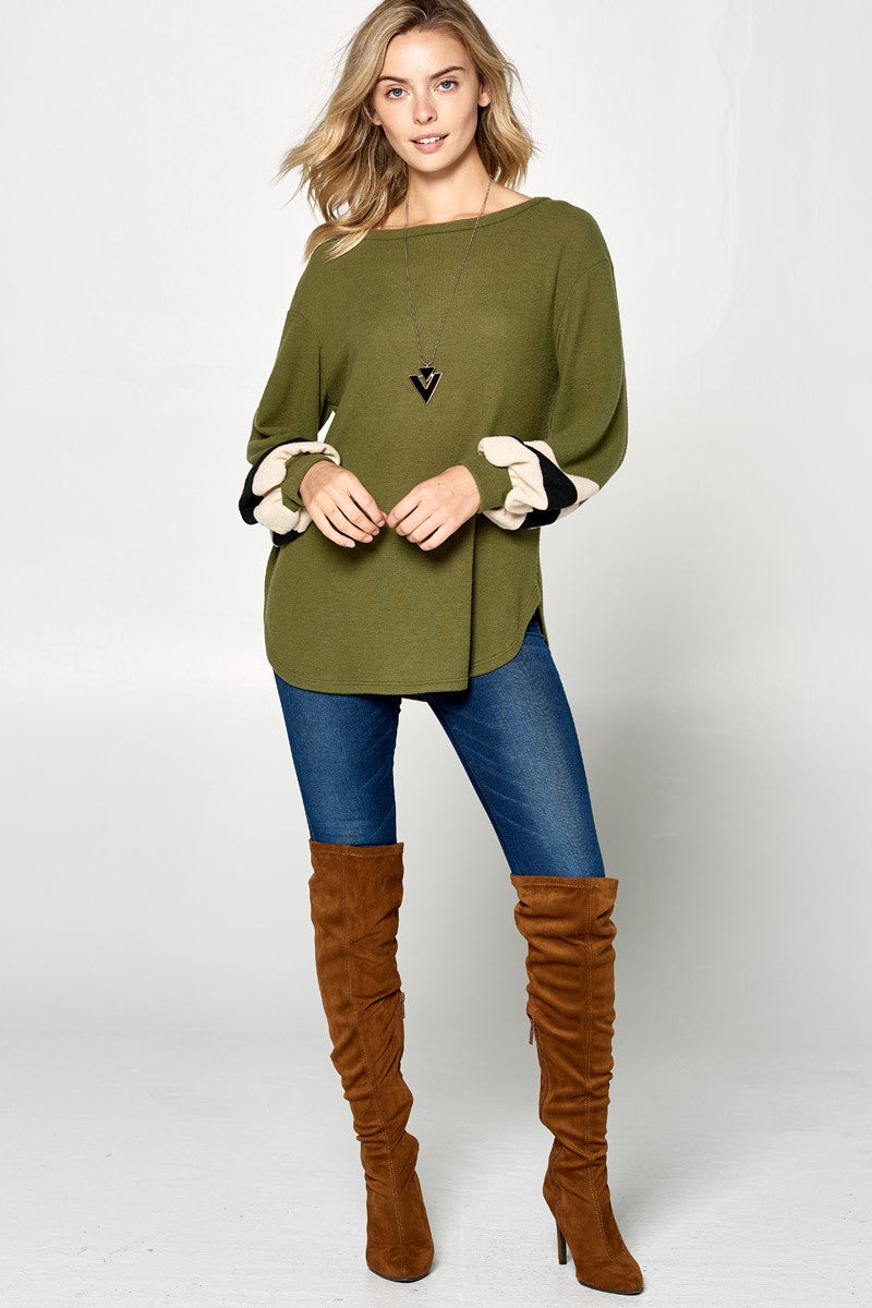 Olive Color Block Tunic