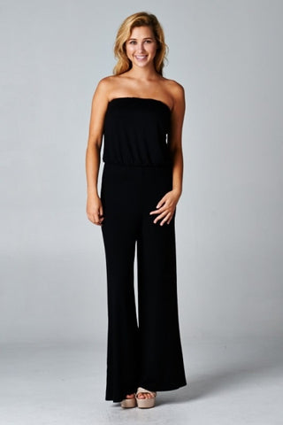 Black Tube Top Jumpsuit - Crowned Boutique