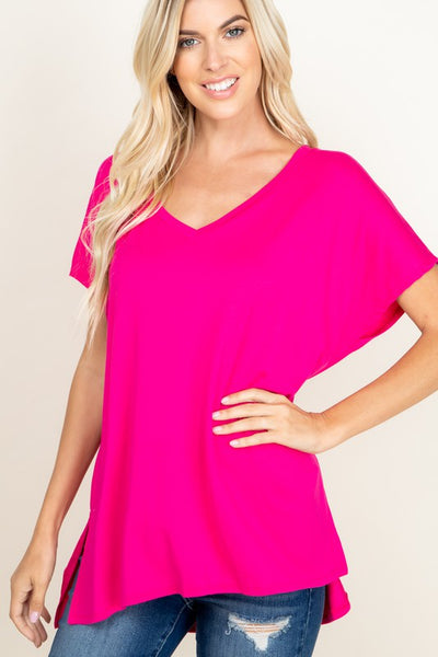Fuschia V-Neck Basic Tee - Crowned Boutique