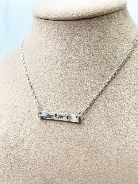 Love Bar Necklace : available in silver, gold, or rose gold.
