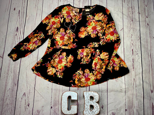 Floral Peplum Top - Crowned Boutique