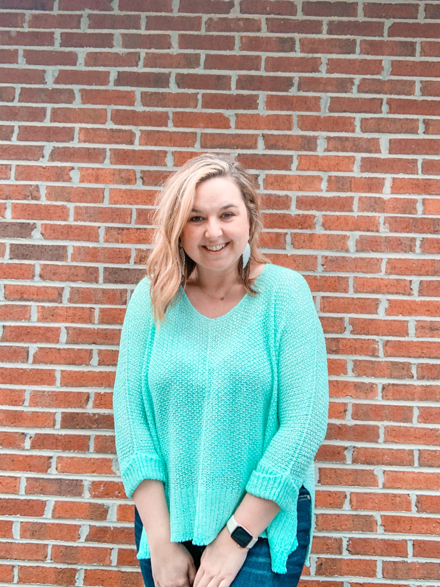 Mint V-Neck Sweater - Crowned Boutique