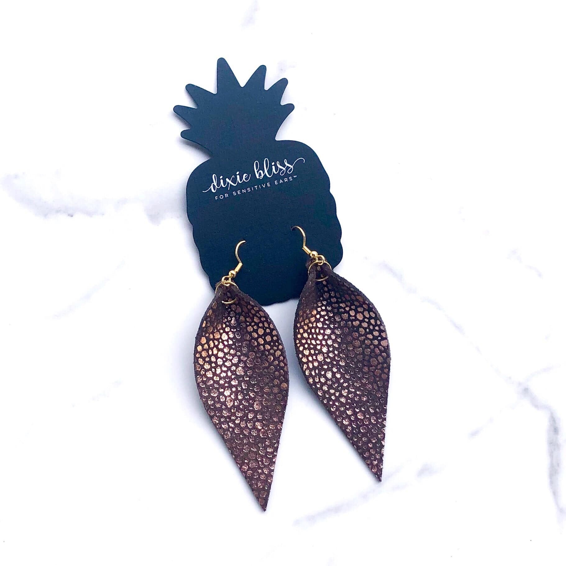 Avalon Metallic Copper Leather Earrings - Crowned Boutique