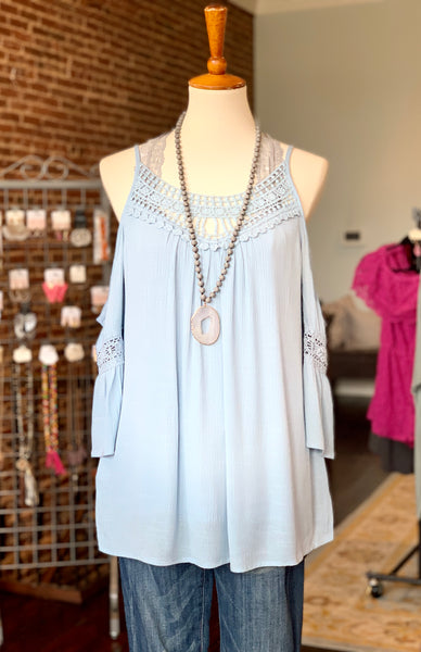 Baby Blue Cold Shoulder Top - Crowned Boutique