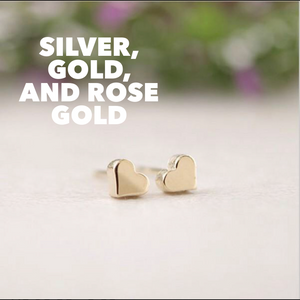 Heart Studs: Gold, Rose Gold or Silver