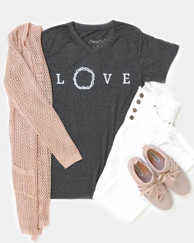Love Crown V-neck Tee - Crowned Boutique