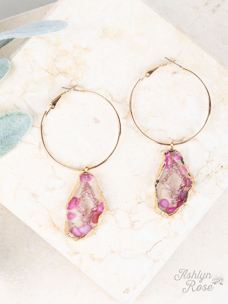 Pink Geode Hoops - Crowned Boutique