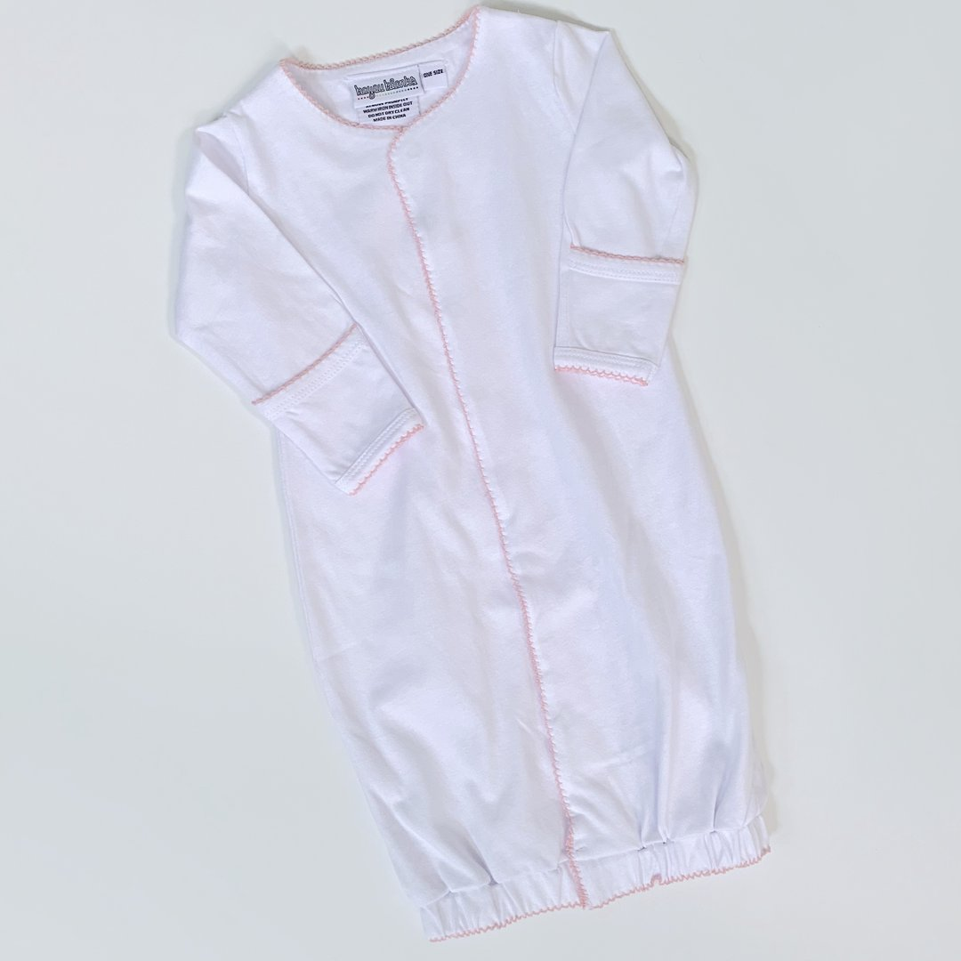 Pink Picot Trim Infant Gown