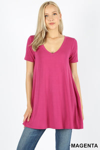 Short Sleeve V-Neck Flared Top with Pockets