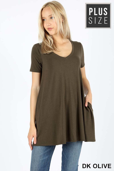 Plus Short Sleeve V-Neck Flared Top with Pockets