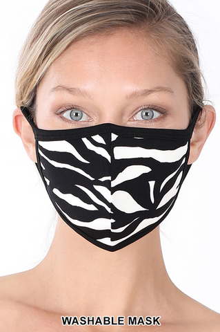 Zebra Print Washable Face Mask - Crowned Boutique