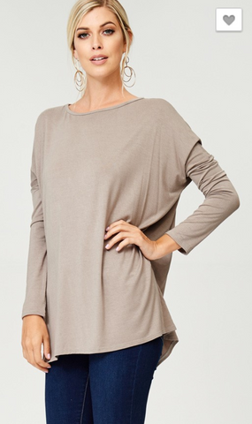 Long Sleeve Dolman Top - Crowned Boutique