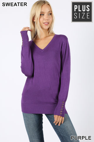 Button Detail Lightweight Sweater
