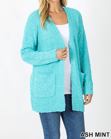 Plus Long Sleeve Popcorn Cardigan
