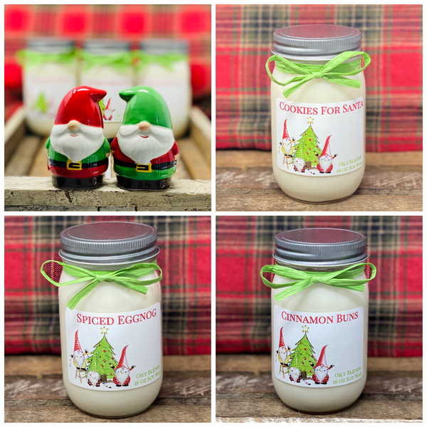 Gnome Christmas Candles - 16 oz Jumbo Soy Wax