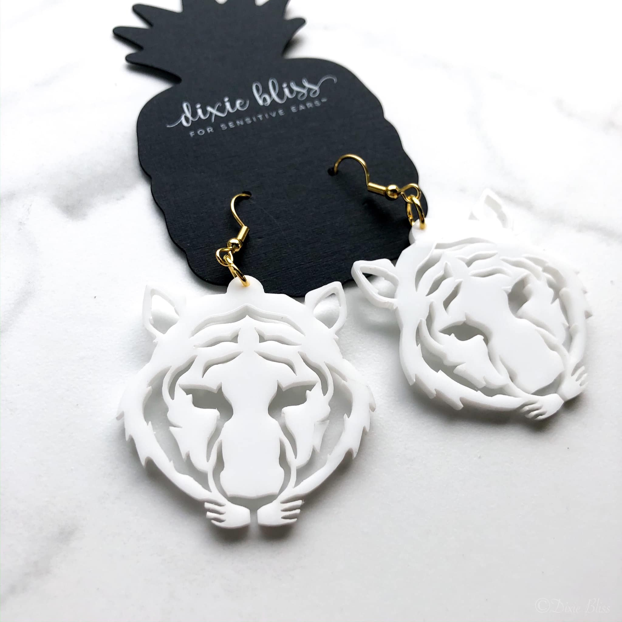 White Tiger Earrings - Crowned Boutique