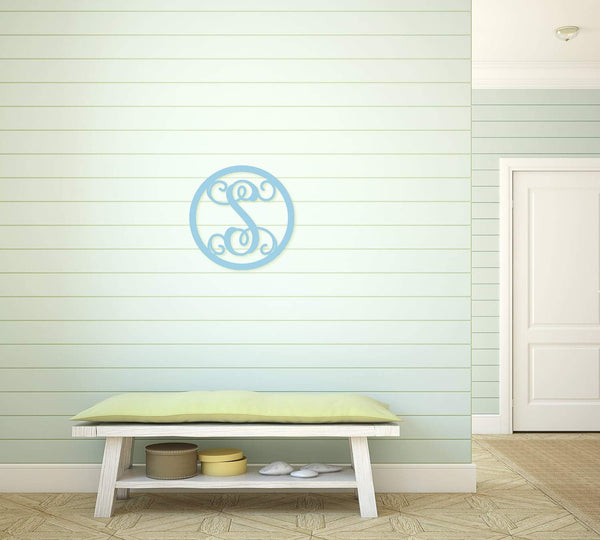 Circle Design Wood Monogram