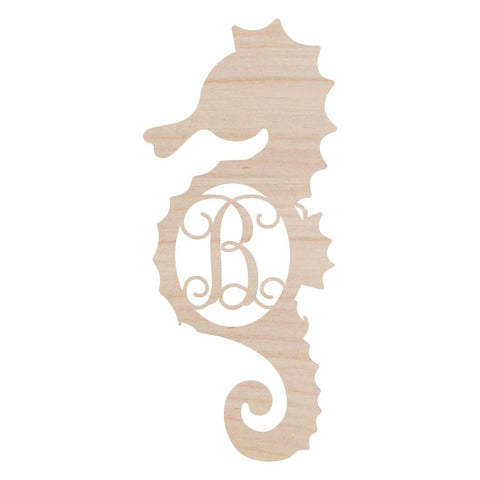 Seahorse  Wood Monogram - Crowned Boutique
