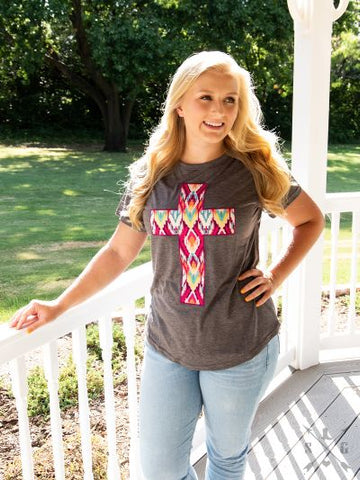 Aztec Cross Tee - Crowned Boutique